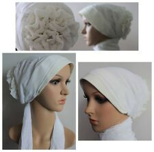 Beautiful Instant Turban Rose Flower Hijab Scarf Cap Bonnet Chemo White Cream