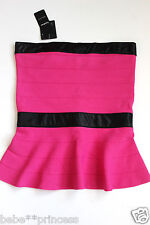 NWT bebe bright pink strapless peplum ruffle bandage dress top  L large 10 party