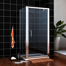 800x900mm Shower Enclosure Pivot Glass Cubicle Door Side Panel Stone Tray+Waste