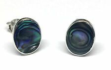 Funky 925 Sterling Silver 10 x 8mm Oval Abalone Paua Shell Stud Earrings - Boxed