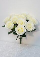 Sweet Home Deco 14'' One Dozen Sweet Roses Silk Artificial Bouquet for Wedding