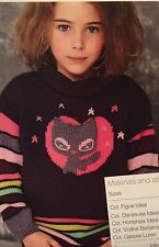 Girls Jumper with a cat motif ( 4 - 10 years) Knitting Pattern