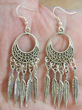 Southwest Feather EARRINGS Tibet Silver Feathers Filagree Silver Ear Wires NEW!!