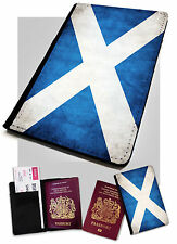 Passport Holder Scottish Flag Printed Faux Leather Cover Case Scotland UK GB