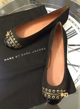NWB MARC BY MARC JACOBS Black Grommet Zipper Ballet Flats Shoes Size 39.5