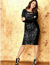 New LANE BRYANT $99 Art Deco Sequin Ponte Knit Black Sheath Dress Plus 18 2X