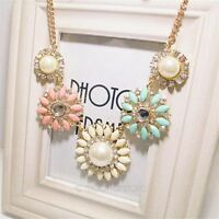 Bib Statement Crystal Flower Pendant Necklace Chunky Bubble Choker Collar Chain