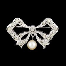 Antique Vintage Art Deco Sterling Silver Paste Cultured Pearl Bow Brooch Pin!