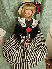 "Jan Mclean dolls: porcelain/cloth  ""GLORIA""; black & white dress 28"" tall cp-591"