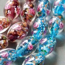 10Pcs Pink Flower Design Lampwork Glass Beads Finding