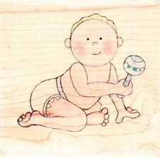 BABY RATTLE - JOLLY NATION - WOOD MOUNTED RUBBER STAMP