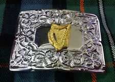 Men's Kilt Belt Buckle Irish Harp Emblem/Irish Celtic Harp Buckle Chrome Finish