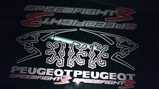 PEUGEOT SPEEDFIGHT 3sticker / Decalcomania Set Argento, Rosso, Nero, 50, 70, 100, rapida Pug