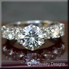 1.60 CT FOREVER CLASSIC MOISSANITE ROUND SEMI ETERNITY ENGAGEMENT RING