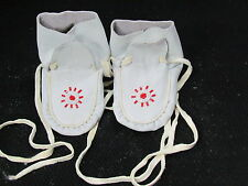 NATIVE AMERICAN  BEADED HIGH TOPS  FOR KIDS ,5 INCHES LONG  RED STAR VAMP