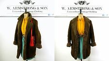 Women's Brown GENUINE MORLANDS SHEEPSKIN LEATHER BOHO Hippie 70s VTG Coat UK 16