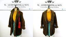 Women's Brown GENUINE MORLANDS SHEEPSKIN LEATHER BOHO Hippie 70s VTG Coat UK 16