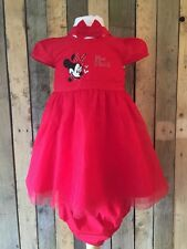Minnie Mouse Red Baby Girl Dress With Knickers And Headband Set Age 12-18 Months