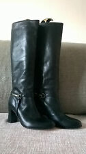 BLACK LEATHER KNEE HIGH HEELED JIGSAW BOOTS, Size 39, LEATHER LINING AND SOLES