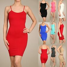 Extra Long Seamless Solid Tunic Mini Dress - Spaghetti Cami Tank Tops One Size