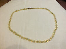 Beautiful Handmade Beaded Necklace Tiny Iridescent Gold White Green Seed Beads