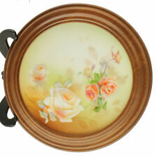 Antique 19th C RS Prussia Decorative Wall Plate Roses Wooden Frame