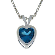 1 Ct London Blue Topaz Heart Bezel Pendant .925 Sterling Silver