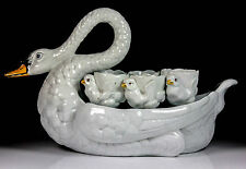 ANTIQUE RARE FRENCH ART POTTERY G D PARIS SWAN 6 CYGNET EGG CUP DISPLAY C.1890+