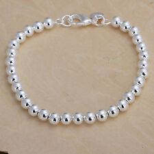Women's Unisex 925 Sterling Silver Bracelet Hollow Beads Balls L49