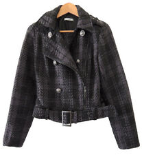 TARGET HOT OPTIONS BLACK AND PURPLE TARTAN JACKET. SIZE 10