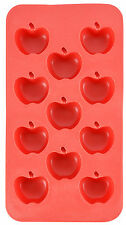 Apple Shape Flexible 11 Ice Cube Tray Mold Red Silicone Novelty Gag Gift Joke