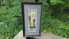 Nautical Decor Sailboats Fleck Bros. NYC Pen Watercolor Print Wood Frame Art