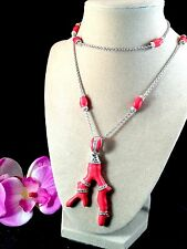 "LAUREN G. ADAMS RHODIUM CUBIC ZIRCONIA HOT RED CORAL 42"" CHAIN NECKLACE PENDANT"