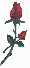 RED ROSE BUDS - FLOWERS - GARDENING - ROSE Iron On Embroidered Applique Patch