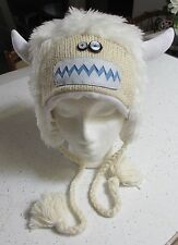 ADULT WHITE HAT knit yeti big foot LINED abominable sasquatch Bumble costume NEW