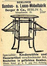 Berliner Bambus-& Luxus-Möbelfabrik Berger & Co.Bln Historische Reklame von 1900