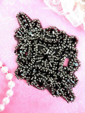 JB115 Black Glass Rhinestone Applique Pewter Beaded Motif Dance Patch