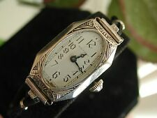 1930's Ladies Art Deco Enamel Waltham Watch  ~  Runs