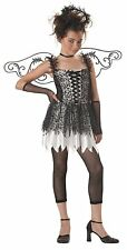 Deluxe Dark Angel Costume Kids Fallen Angel Halloween Fancy Dress Size 8-10