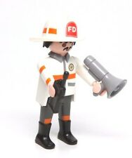 Playmobil Figure Fire Rescue Firefighter Chief Helmet Bullhorn Radio 5701