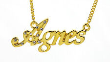 18K Gold Plated Necklace With Name AGNES - Identity Pendant Crystals Christmas