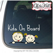 "Boy & Girl ""KIDS ON BOARD"" Vinyl Car / Truck / Vehicle Decal Sticker"