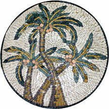 Palm Round Medallion Motif Design Floor Pool  Home Marble Mosaic MD547