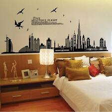 City Buildings Silhouette Wall Stickers Decal Mural Vinyl Art Bedroom Decoration