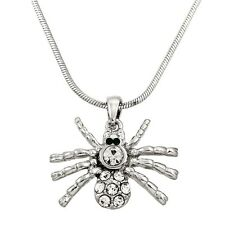 """Spider Charm Pendant Fashionable Necklace - Sparkling Crystal - 17"""" Chain"""