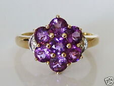 Beautiful 9ct Gold Amethyst & Diamond Cluster Ring Size P
