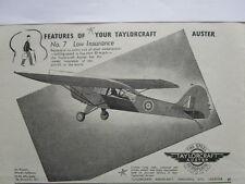8/1945 PUB TAYLORCRAFT AUSTER STEEL AEROPLANE / HAWKER SIDDELEY RAF ORIGINAL AD