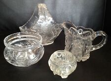 Lot Of 4 Glass Items. Basket, Creamer, Candle Holder And Small Bowl.