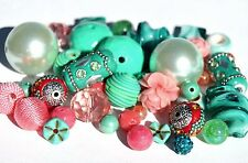 New 44 Piece Coral and Teal Melon Ball Bead Mix BM201255