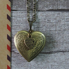 Made With Love Vintage Brass Bronze Heart Picture Locket Pendant Necklace